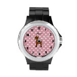 Personalized name horse pink polka dots wristwatch