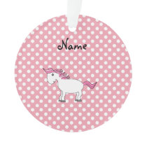 Personalized name horse pink white polka dots ornament