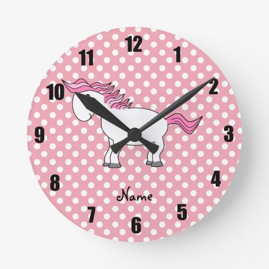 Personalized name horse round clock