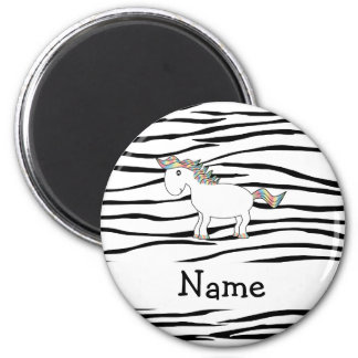 Personalized name horse zebra stripes magnet