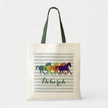 personalized name horses tote bag