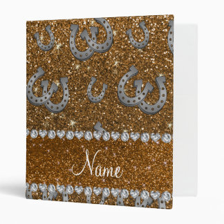 Personalized name horseshoes gold glitter 3 ring binder