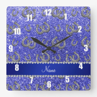 Personalized name horseshoes neon blue glitter square wall clock