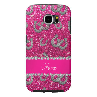 Personalized name horseshoes neon hot pink glitter samsung galaxy s6 case