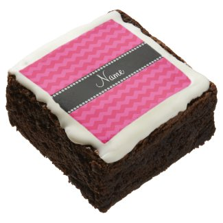 Personalized name hot pink chevrons brownie