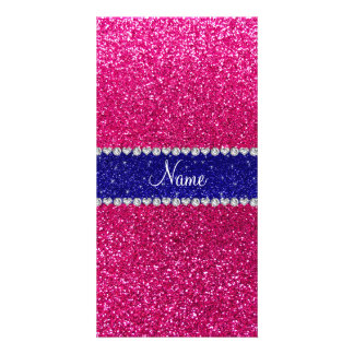 Personalized name hot pink glitter blue stripe photo card template