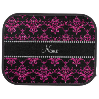 Personalized name hot pink glitter damask car mat
