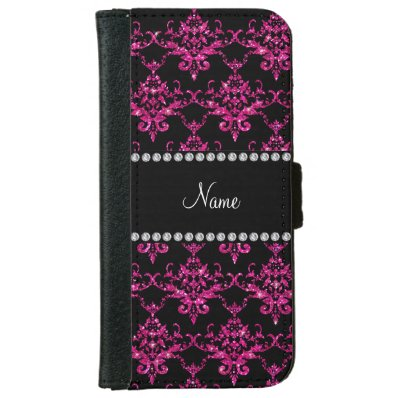 Personalized name hot pink glitter damask iPhone 6/6S wallet case