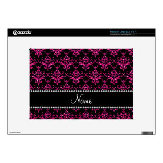Personalized name hot pink glitter damask skin for large netbook