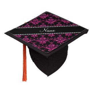 Personalized name hot pink glitter damask graduation cap topper