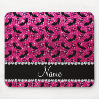 Personalized name hot pink glitter fancy shoes bow mouse pad