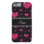 Personalized name hot pink glitter hearts barely there iPhone 6 case