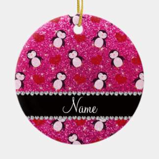 Personalized name hot pink glitter penguins hearts ceramic ornament