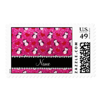 Personalized name hot pink glitter penguins hearts postage