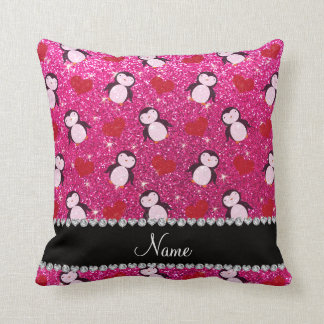 Personalized name hot pink glitter penguins hearts throw pillow