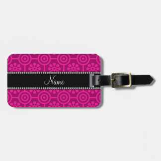 Personalized name hot pink retro flowers luggage tag