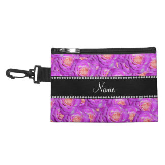 Personalized name hot pink roses accessories bags