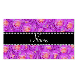 Personalized name hot pink roses business card template