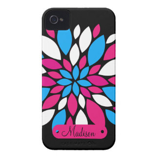 Personalized Name Hot Pink Teal Blue Flower Art Case-Mate iPhone 4 Case