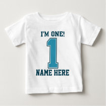 Personalized Name, I'm One, Big Blue Number 1 Baby T-Shirt