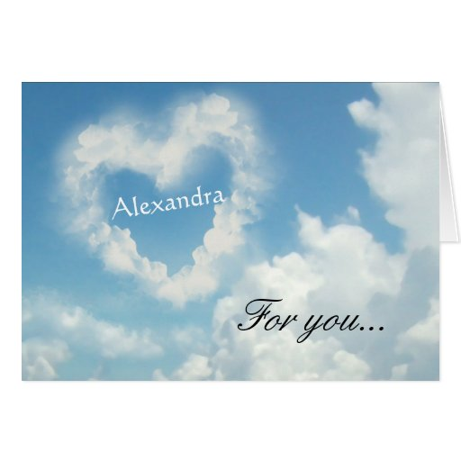 Personalized Name In Heart Cloud Romantic Greetin Card 137682996624958...