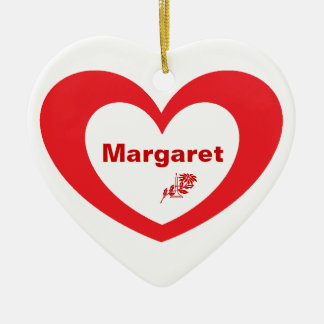 Personalized Name in Heart Christmas Ornaments