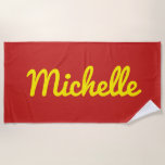 [ Thumbnail: Personalized Name in Yellow Script On Red Beach Towel ]