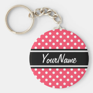 Personalized Name Indian Red Polka Dots Pattern Basic Round Button Keychain