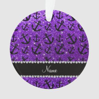Personalized name indigo purple glitter anchors
