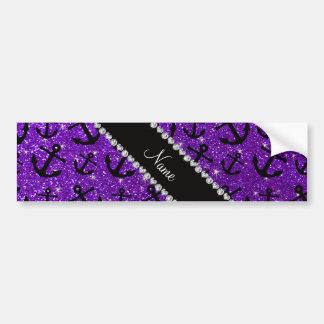 Personalized name indigo purple glitter anchors car bumper sticker