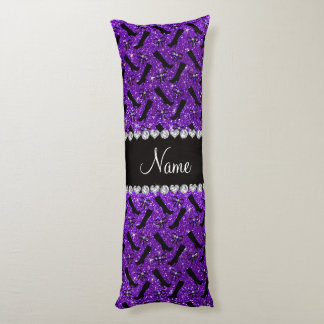 Personalized name indigo purple glitter boots bows body pillow
