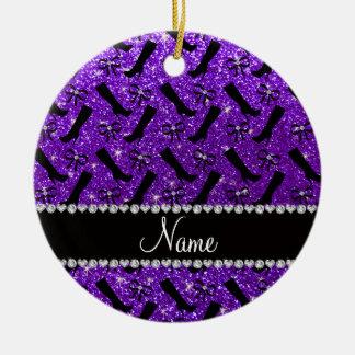 Personalized name indigo purple glitter boots bows ceramic ornament