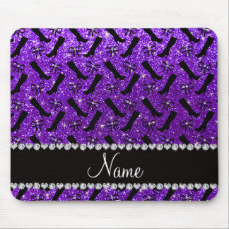 Personalized name indigo purple glitter boots bows mouse pad