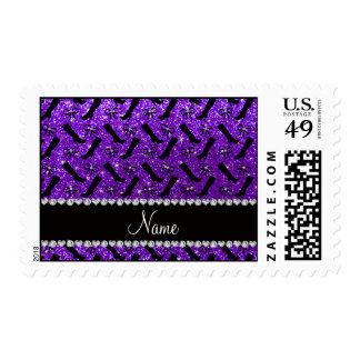 Personalized name indigo purple glitter boots bows postage