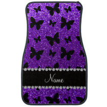Personalized name indigo purple glitter butterfly car mat