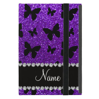 Personalized name indigo purple glitter butterfly cover for iPad mini