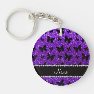 Personalized name indigo purple glitter butterfly Double-Sided round acrylic keychain