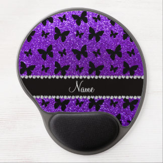 Personalized name indigo purple glitter butterfly gel mouse pad