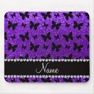 Personalized name indigo purple glitter butterfly mouse pad