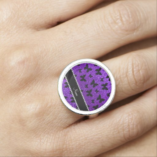 Personalized name indigo purple glitter butterfly rings