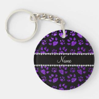 Personalized name indigo purple glitter cat paws Double-Sided round acrylic keychain