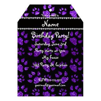 Personalized name indigo purple glitter cat paws 5x7 paper invitation card