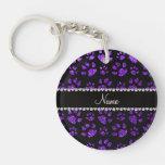Personalized name indigo purple glitter cat paws key chains