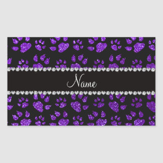 Personalized name indigo purple glitter cat paws rectangular sticker