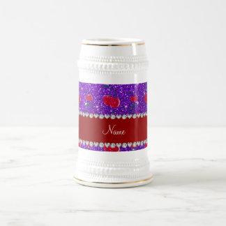Personalized name indigo purple glitter cherries 18 oz beer stein