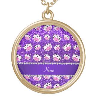 Personalized name indigo purple glitter cow heads round pendant necklace