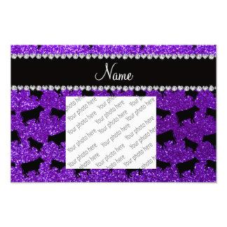 Personalized name indigo purple glitter cows photo art