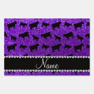 Personalized name indigo purple glitter cows yard signs