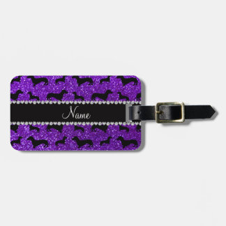 Personalized name indigo purple glitter dachshunds bag tag