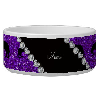 Personalized name indigo purple glitter dachshunds bowl